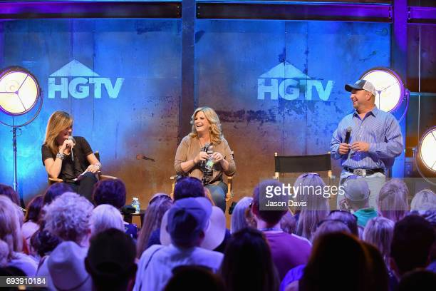 Suzanne Alexander Trisha Yearwood and Garth Brooks speak onstage at the HGTV Lodge during CMA Music Fest on June 8 2017 in Nashville Tennessee
