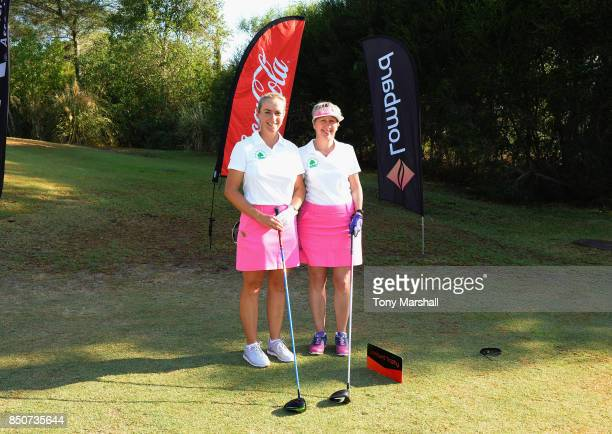 Suzanne Dickens of Nene Park Golf Club and Anne Curwen of Nene Park Golf Club pose on the 1st tee during The WPGA Lombard Trophy Final Day One on...