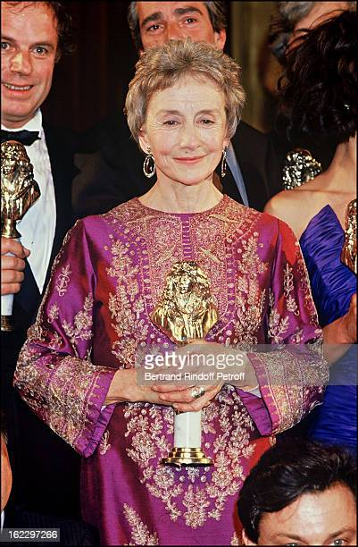Suzanne Flon is given a 'Moliere' reward at the 'Molieres' French Theater Awards Cermony 1987