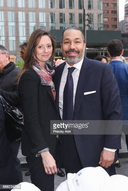 Suzanne Hall and Valentino Carlotti attend The Shed First Reveal VIP Cocktail Party at The Shed on May 24 2017 in New York City