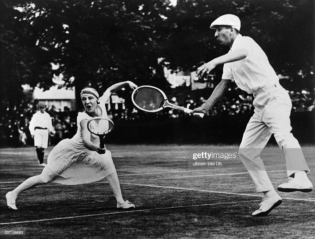 Suzanne Lenglen and René Lacoste playing Tennis mixed doubles