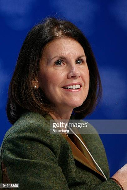Suzanne Nora Johnson former vice chairman of Goldman Sachs Group Inc speaks during a session on day three of the World Economic Forum in Davos...