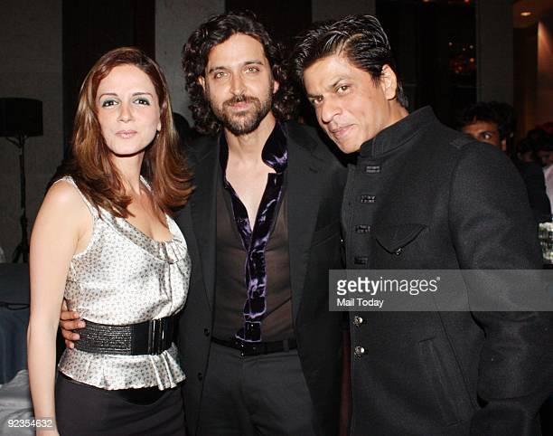 Suzanne Roshan Hrithik Roshan and Shah Rukh Khan at the 31st anniversary of Subhash Ghai�s production house Mukta Arts in Mumbai October 24 2009