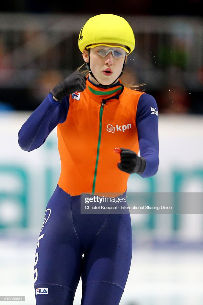 Suzanne Schulting of Netherlands celebrates her presentation after the ladies 1000m semifinal second race heat one during Day 3 of ISU Short Track World Cup at Sportboulevard on February 14, 2016 in Dordrecht, Netherlands.