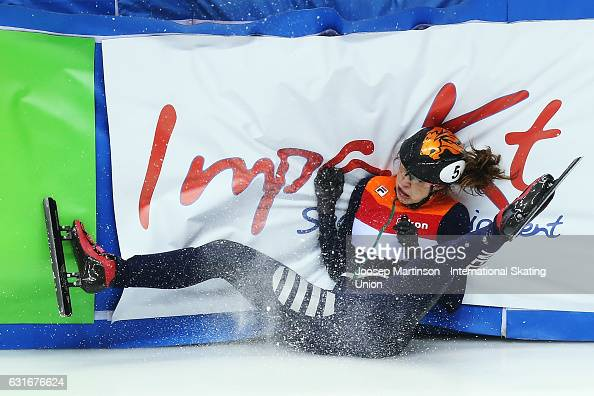 Suzanne Schulting of Netherlands crashes during the Ladies 3000m relay semifinal during day 1 of the European Short Track Speed Skating Championships...