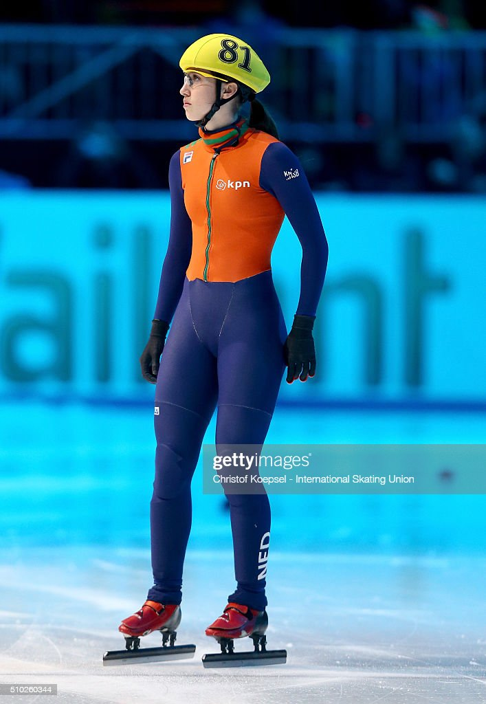 Suzanne Schulting of Netherlands prepares during the ladies 1000m semifinal second race heat one during Day 3 of ISU Short Track World Cup at Sportboulevard on February 14, 2016 in Dordrecht, Netherlands.