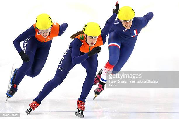Suzanne Schulting of the Netherlands leads Veronique Pierron of France and Lara van Ruijven of the Netherlands in the Ladies' 500m Semifinals on day...