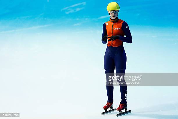 Suzanne Schulting of the Netherlands looks on before she competes in the Ladies 1000m Semi finals during ISU Short Track Speed Skating World Cup held...