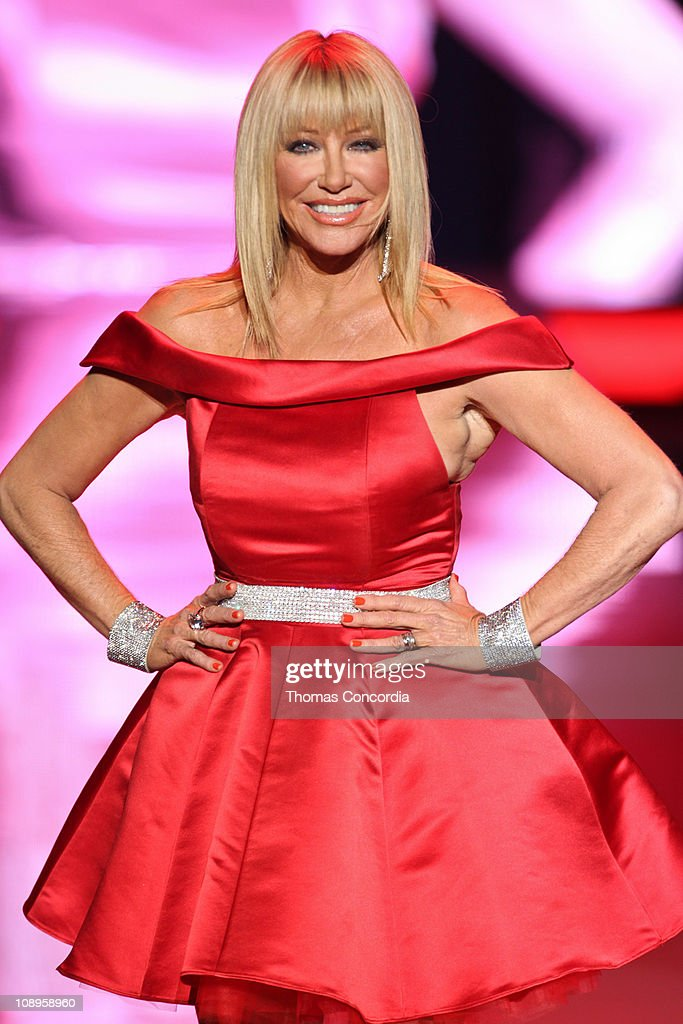 Suzanne Somers wearing Ina+Soltani at the The Heart Truth's Red Dress Collection fashion show during Mercedes-Benz Fashion Week Fall 2011 at Lincoln Center on February 9, 2011 in New York City.