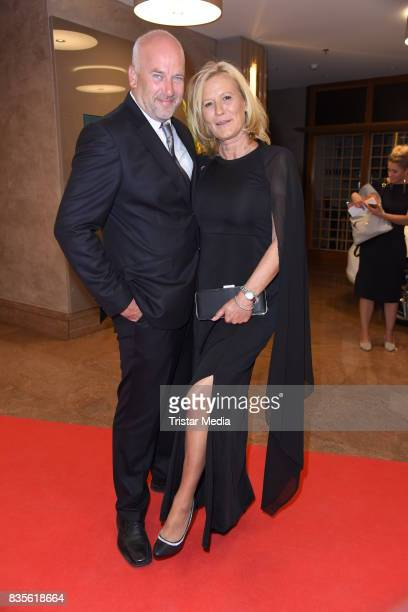 Suzanne von Borsody and her husband Jens Schniedenharn attend the GRK Golf Charity Masters evening gala on August 19 2017 in Leipzig Germany