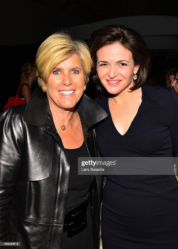 Suze Orman and Sheryl Sandberg attend Time Warner's Conversations on the Circle: A Conversation With Sheryl Sandberg, Chief Operating Officer, Facebook And Moderated By Nancy Gibbs, Deputy Managing Editor, TIME on March 11, 2013 in New York City.
