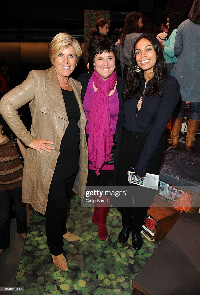 Suze Orman, playwright Eve Ensler and actress Rosario Dawson attend the 'Emotional Creatures' Talkback Series at The Pershing Square Signature Center on October 26, 2012 in New York City.