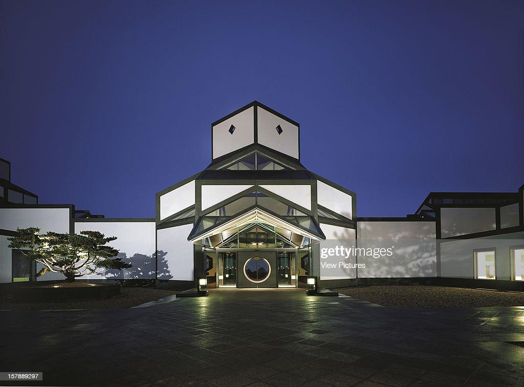 Suzhou Museum IM Pei Suzhou China Frontal Exterior Elevation At Night With Illuminated Forecourt IM Pei China Architect