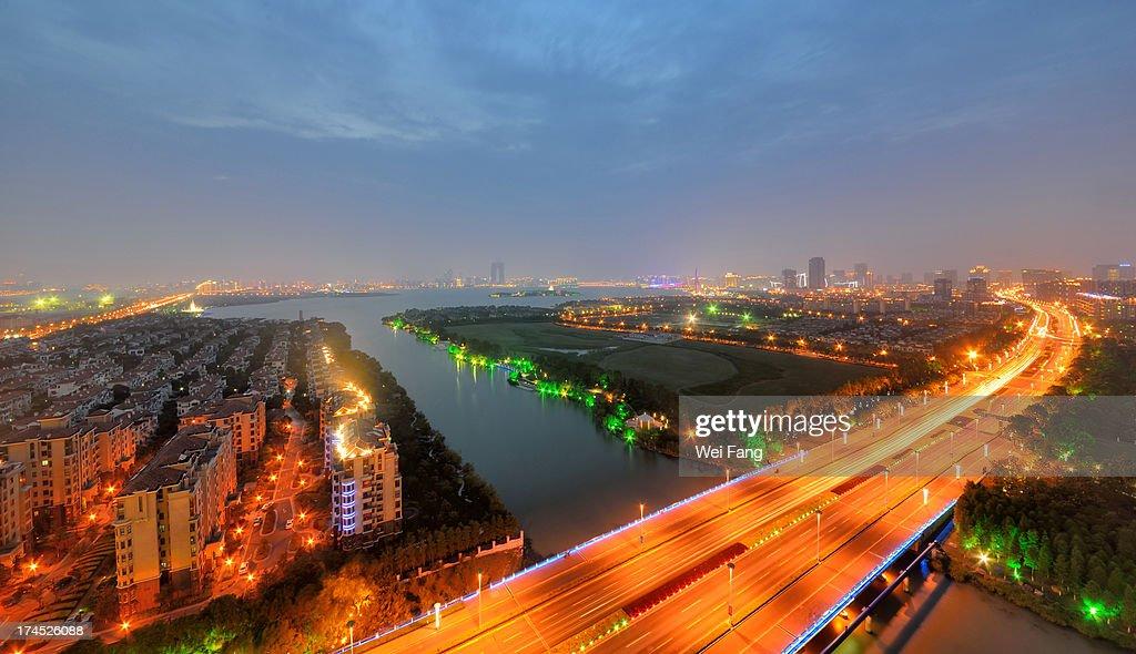 Suzhou night cityscape near Jinji Lake