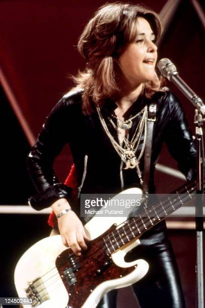 Suzi Quatro performs on BBC TV show Top Of The Pops 1974