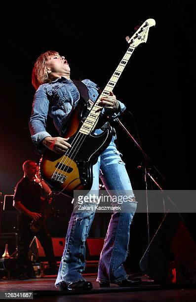 Suzi Quatro performs on stage at the Enmore Theatre on September 25 2011 in Sydney Australia