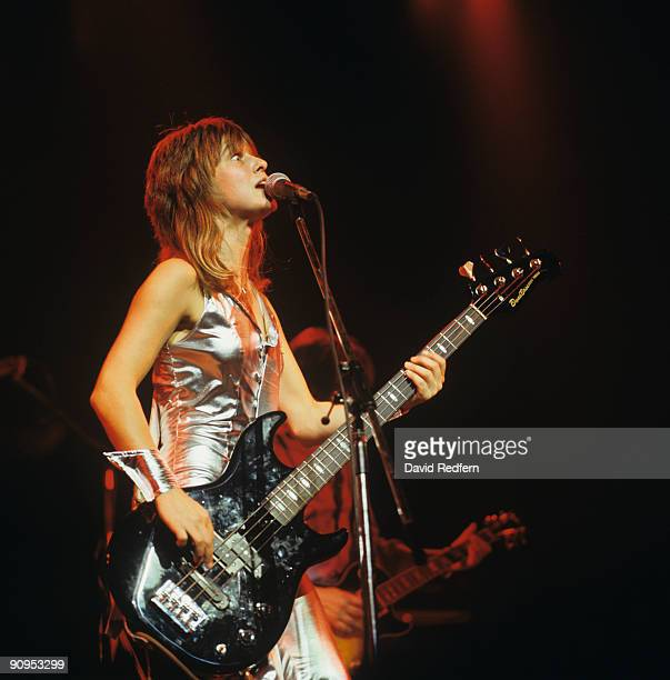 Suzi Quatro performs on stage at the Hammersmith Odeon in London England on November 02 1978