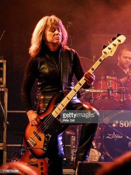 Suzi Quatro performs on stage during the second day of Silverstone Classic 2011 at Silverstone Circuit on July 23 2011 in Northampton United Kingdom