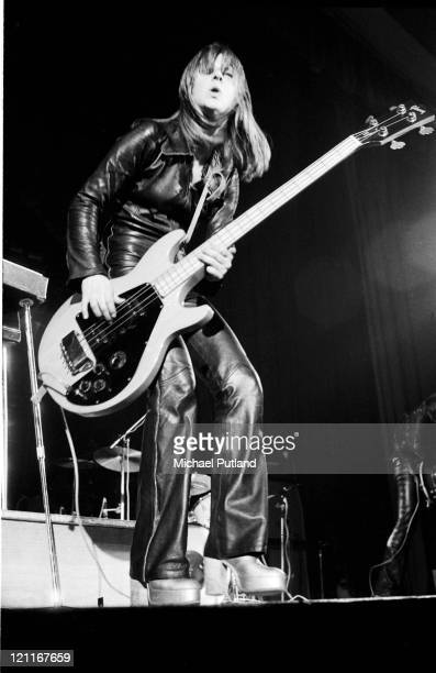 Suzi Quatro performs on stage London 1975