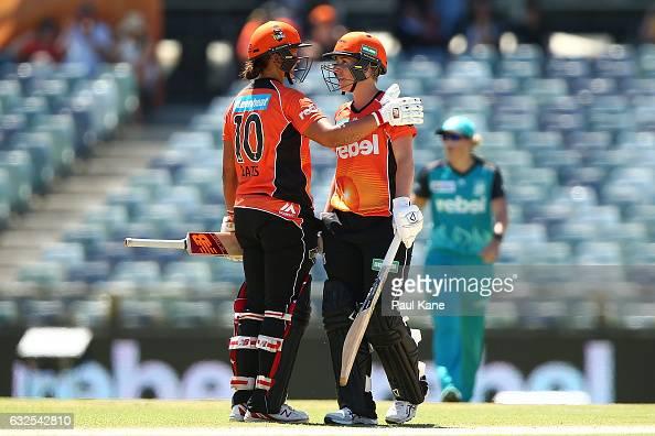 Suzie Bates and Elyse Villani of the Scorchers celebrate winning the Women's Big Bash League match between the Perth Scorchers and the Brisbane Heat...