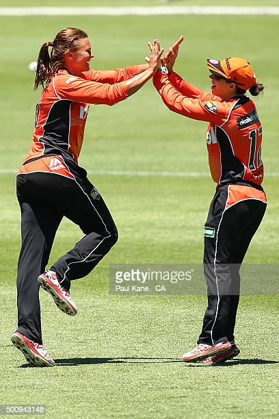 Suzie Bates and Nicole Bolton of the Scorchers celebrate a wicket during the Women's Big Bash League match between the Perth Scorchers and the...