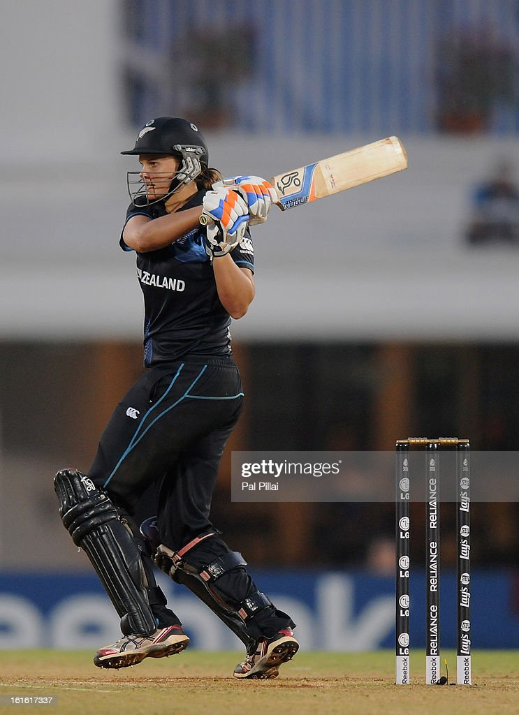 Suzie Bates captain of New Zealand bats during the Super Sixes match between England and New Zealand held at the CCI (cricket club of India) on February 13, 2013 in Mumbai, India.