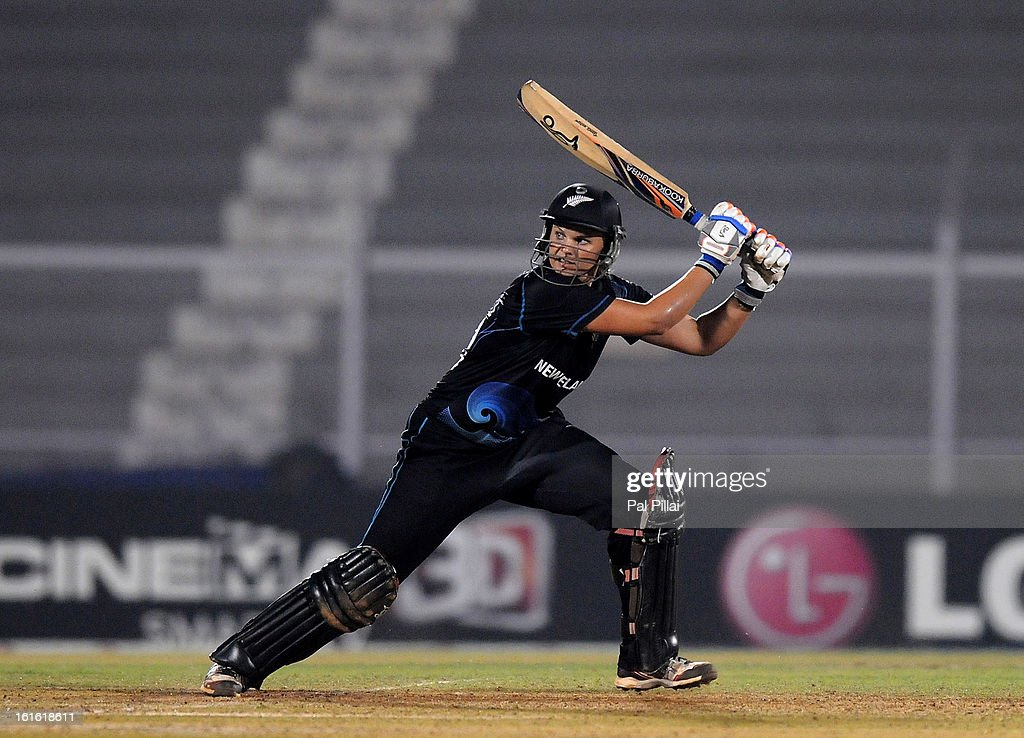 Suzie Bates captain of New Zealand bats during the Super Sixes match between England and New Zealand held at the Cricket Club of India on February 13, 2013 in Mumbai, India.