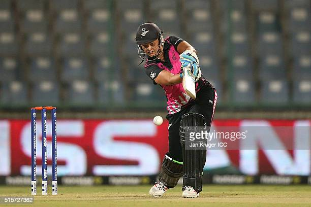 Suzie Bates Captain of New Zealand bats during the Women's ICC World Twenty20 India 2016 match between New Zealand and Sri Lanka at Feroz Shah Kotla...