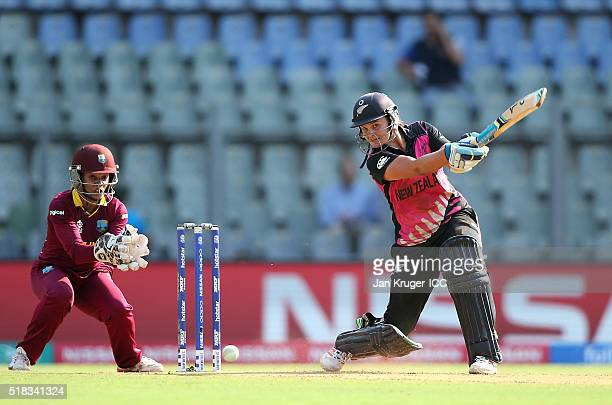 Suzie Bates Captain of New Zealand bats with Merissa Aguilleira of the West Indies looking on during the Women's ICC World Twenty20 India 2016 Semi...