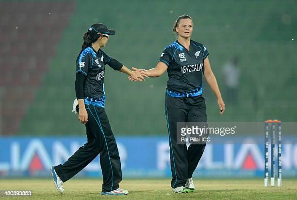 Suzie Bates captain of New Zealand celebrates the wicket of Nahida Khan during the ICC Women's World Twenty20 match between New Zealand Women and...