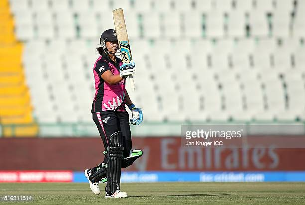 Suzie Bates Captain of New Zealand reaches her half century during the Women's ICC World Twenty20 India 2016 match between New Zealand and Ireland at...