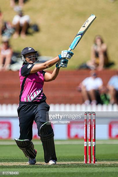 Suzie Bates of New Zealand bats during match one of the TransTasman Twenty20 Series at Basin Reserve on February 28 2016 in Wellington New Zealand