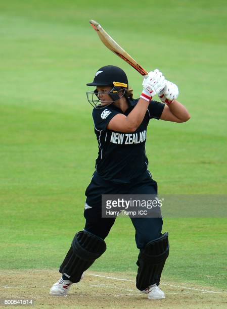 Suzie Bates of New Zealand bats during the ICC Women's World Cup 2017 match between New Zealand and Sri Lanka at the Brightside Ground on June 24...