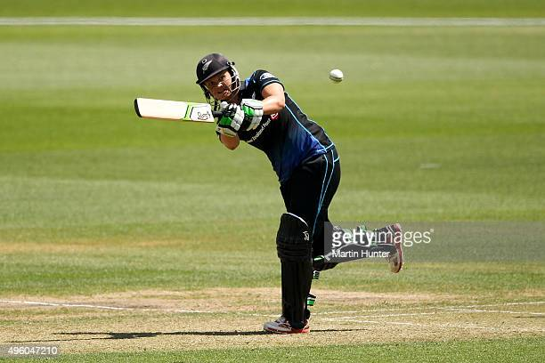 Suzie Bates of New Zealand bats during the Third Women's One Day International match between New Zealand and Sri Lanka at Bert Sutcliffe Oval Lincoln...