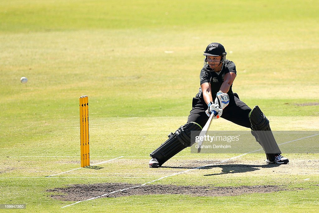 Suzie Bates of New Zealand bats during the Women's International Twenty20 match between the Australian Southern Stars and New Zealand at Junction Oval on January 24, 2013 in Melbourne, Australia.