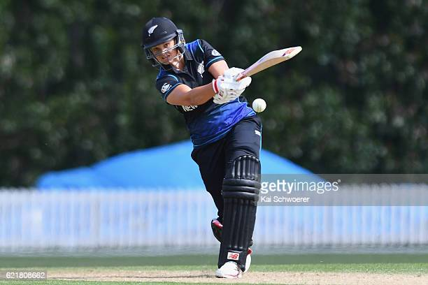 Suzie Bates of New Zealand bats during the Women's One Day International match between the New Zealand White Ferns and Pakistan on November 9 2016 in...