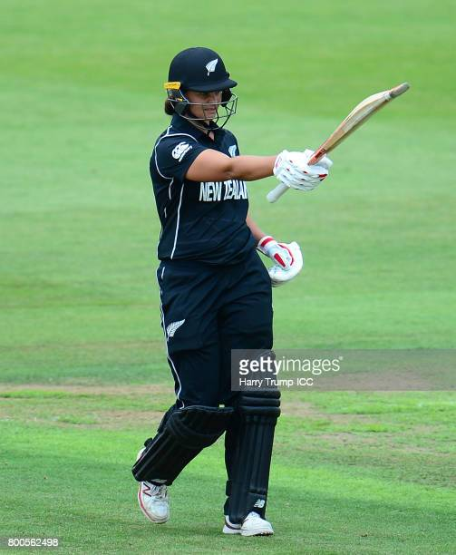 Suzie bates of New Zealand celebrates her century during the ICC Women's World Cup 2017 match between New Zealand and Sri Lanka at the Brightside...