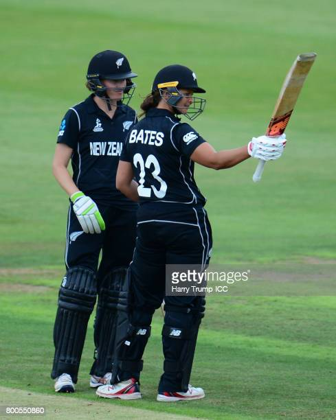 Suzie Bates of New Zealand celebrates her half century during the ICC Women's World Cup 2017 match between New Zealand and Sri Lanka at the...