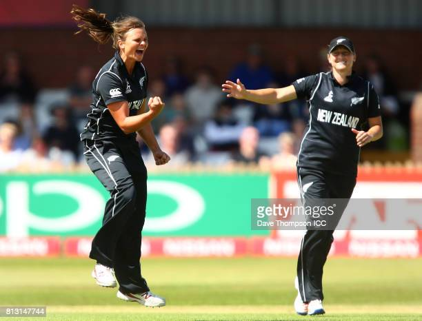Suzie Bates of New Zealand celebrates taking the wicket of Heather Knight of England during the ICC Women's World Cup match between England and New...