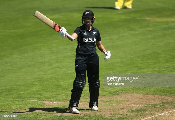 Suzie Bates of New Zealand celebreates her half century during the ICC Women's World Cup 2017 match between Australia and New Zealand at The County...