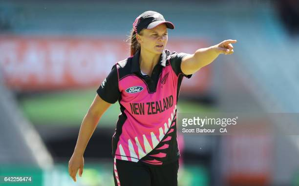 Suzie Bates of New Zealand sets the field during the first Women's International Twenty20 match between Australia and New Zealand at the Melbourne...