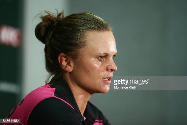 Suzie Bates of New Zealand speaks to media during a press conference after the Women's Twenty20 International match between the Australia Southern...