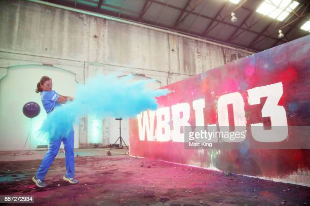 Suzie Bates of the Adelaide Strikers hits a chalk filled Christmas bauble during the 201718 WBBL Women's Big Bash League season launch at...