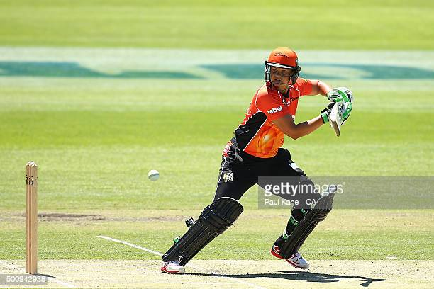 Suzie Bates of the Scorchers bats during the Women's Big Bash League match between the Perth Scorchers and the Brisbane Heat at Aquinas College on...
