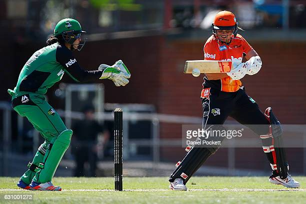 Suzie Bates of the Scorchers bats during the Women's Big Bash League match between the Perth Scorchers and the Melbourne Stars and Toorak Park on...