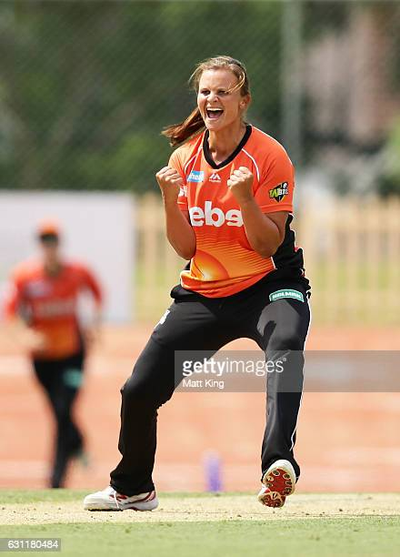 Suzie Bates of the Scorchers celebrates taking the wicket of Sara McGlashan of the Sixers during the Women's Big Bash League match between the Perth...