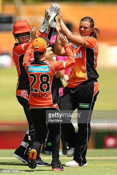 Suzie Bates of the Scorchers celebrates the wicket of Ashleigh Gardner of the Sixers during the Women's Big Bash League match between the Perth...