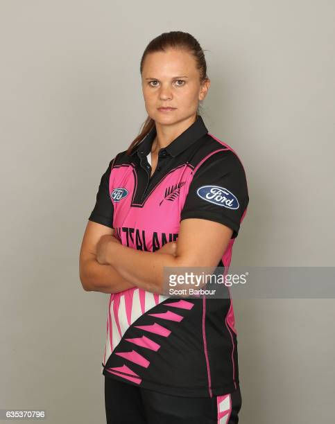 Suzie Bates poses during a New Zealand Women's T20 headshots session at the Langham Hotel on February 15 2017 in Melbourne Australia