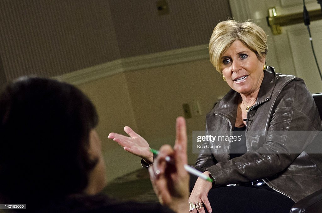 Suzie Orman speaks wiht reporters during a press interview during the 4th Annual Get Radical Women's conference at the Hyatt Regency on March 31, 2012 in Reston, Virginia.