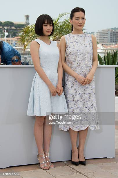 Suzu Hirose and Haruka Ayase attend the 'Notre Petite Soeur' photocal during the 68th annual Cannes Film Festival on May 14 2015 in Cannes France